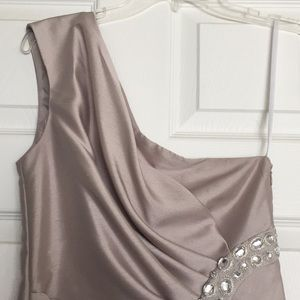 London Times Dresses - Silver one shoulder cocktail dress